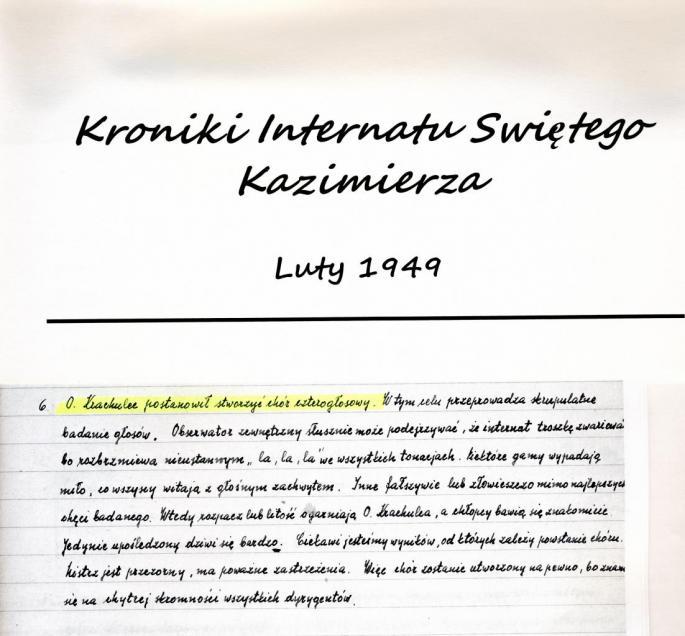 6 fevrier 1949 Père Krachulec décide de créer une chorale à 4 voix