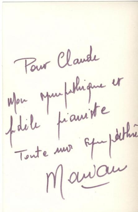 Dédicace de Notre Chanteur à Claude