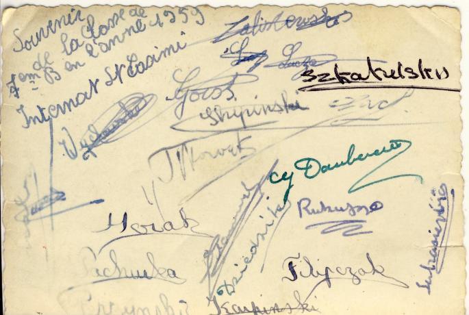 Classe de 7° B (1958-59) nos signatures