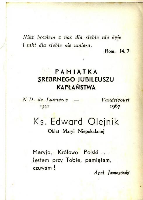Jubilé  R.P. Olejnik. 1967 (photo C. Lukasiewicz)