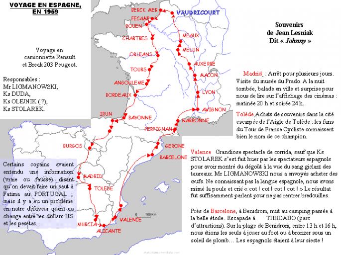 Voyage Espagne en 1960 (récit J. Lesniak)