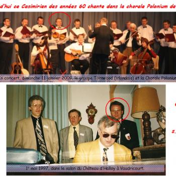 Aujourd'hui ce Casimirien des années 60 chante dans la chorale Polonium de Lyon…Pouvez vous nous dire son nom s.v.p ? Question subsidiaire, sur la photo du bas, quel est le nom du jeune homme à la chemise noire et la cravate chamarrée ?