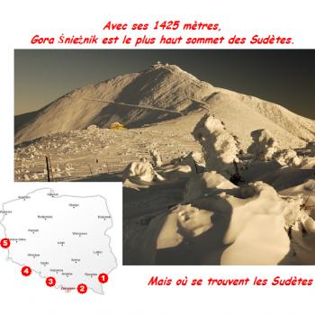 Avec ses 1425 mètres, Gora Śnieżnik est le plus haut sommet des Sudètes. Mais où se trouvent les Sudètes ?