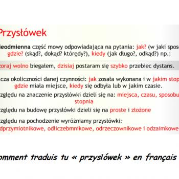 Comment traduis tu «przysłówek» en français ?