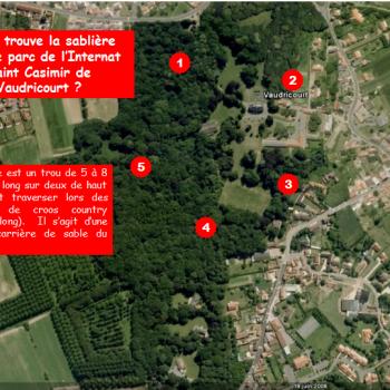 Oû se trouve la sablière dans le parc de l'Internat Saint Casimir de Vaudricourt ?