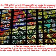 En 1965-1966, où ont été assemblés et coulés les panneaux qui constituent les vitraux de l'Église du Millenium à Lens ?