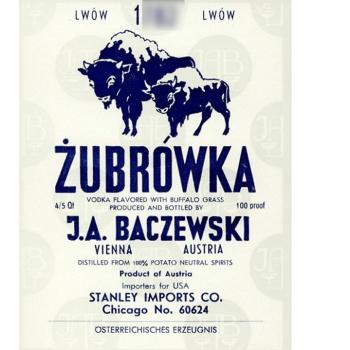 En quelle année, le fabricant de liqueur Baczewski, a-t-il mis au point la formule de la Zubrówka ?